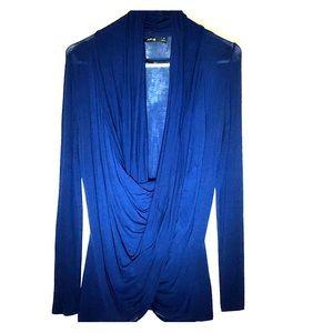 Apt 9 Draped Neck Blouse - Size XS, Royal Blue